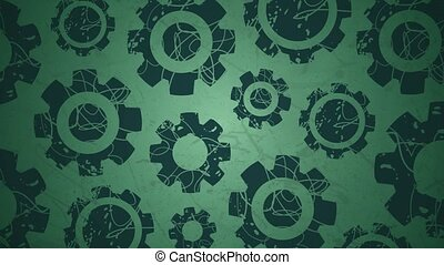 Rotating graphic cogs on green