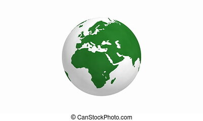 Rotating green earth 4K animation with white background