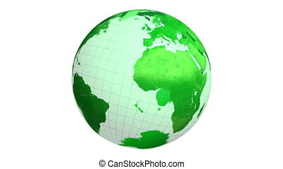 Rotating green planet Earth globe on white background