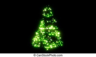 Rotating green shape of Xmas tree