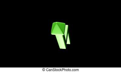 rotating green upward arrow
