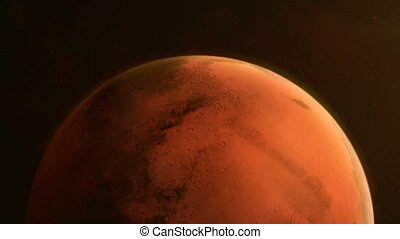 Rotating hemisphere of the planet Mars close up - Animation ...