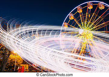 Rotating In Motion Effect Illuminated Attraction Ferris ...