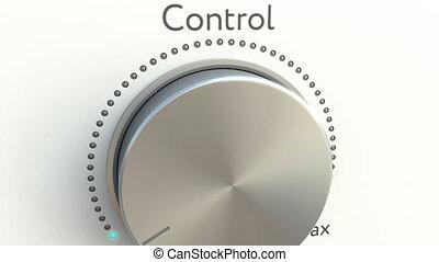 Rotating knob with control inscription. Conceptual 4K clip