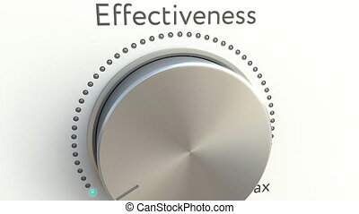 Rotating knob with effectiveness inscription. Conceptual 4K clip