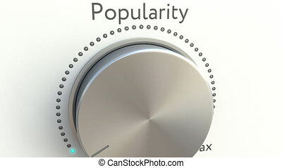 Rotating knob with popularity inscription. Conceptual 4K clip