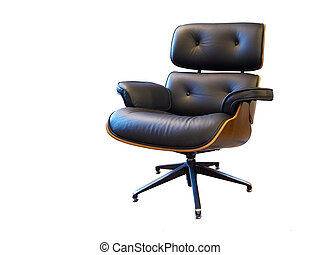 rotating leather arm chair isolated on white