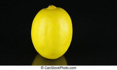 Rotating lemon on a black background. Citrus. Close-up