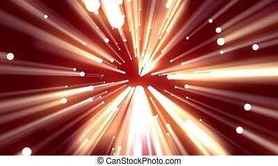A light sphere continuously rotates against a red background