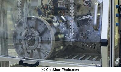 Rotating machine and conveyor belt. Industrial theme -...