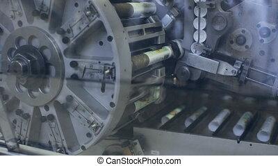 Rotating mechanism and conveyor belt. Industrial theme -...