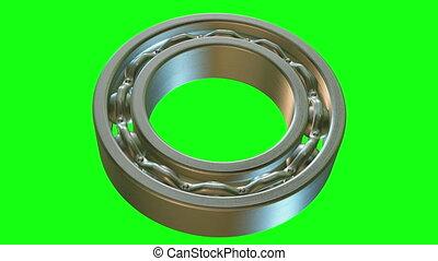 Rotating metal bearing on green screen