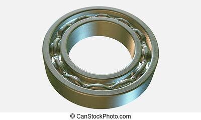 Rotating metal bearing on white background