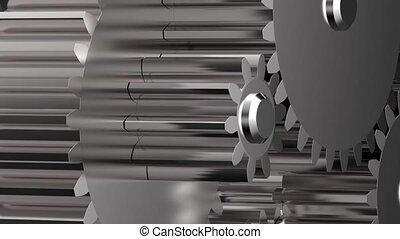 Rotating metal gears hd video