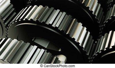 Rotating metal gears