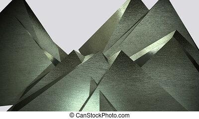 rotating metal gold pyramids - 3d animation of rotating...