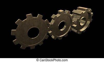 Rotating metallic gold gears. Black background. Alpha...