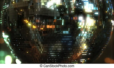Rotating mirror disco ball. Dancing or party concepts