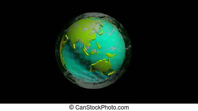 Rotating model of the continents of planet earth , alpha channel