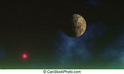 Rotating Moon in the Sky of Alien Planet