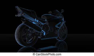 Rotating motorcycle. Black and blue shine Formation of Model motorcycle 360 Degree. Looping Motion Animated Background