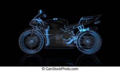 Rotating motorcycle. Black and blue shine Formation of Model...