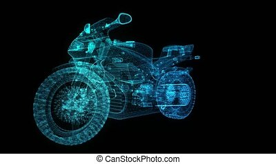 Rotating motorcycle. Glowing Light Particles Arranged in the...