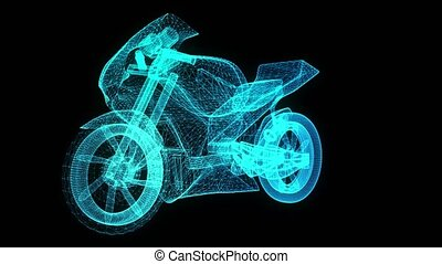 Rotating motorcycle. Glowing Light Particles Arranged in the Formation of Model motorcycle 360 Degree. Seamless Looping Motion Animated Background. Blue Cyan color