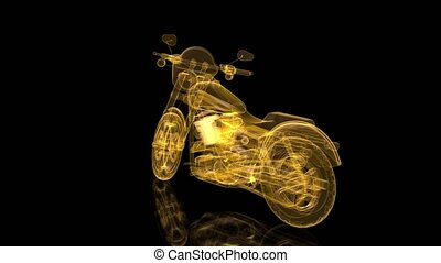 Rotating motorcycle. Mesh glossy wire-frame. Shine Formation...