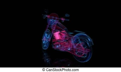Rotating motorcycle. Red and blue shine of Model motorcycle...