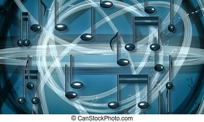 Rotating music notes