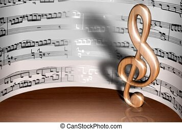 Rotating Musical Note with Sheet Music