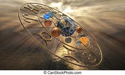 Rotating mystic golden zodiac horoscope symbol with twelve...
