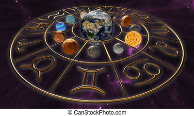 3D rendering animation of a brilliant gold zodiac horoscope sign, rotating with the twelve planet globes of astrology. A spiritual mystic scene on a cosmic background. This clip is rendered in 4K, ultra high definition. Resolution: 3840 x 2160