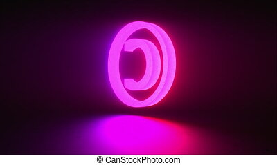 Rotating neon copyright sign on a dark background, computer generated. 3d rendering of copyright protection