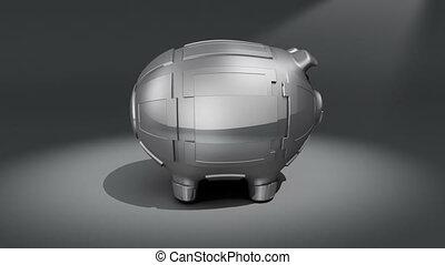 Steel piggy bank rotating on dark background. Conceptual 3D render.