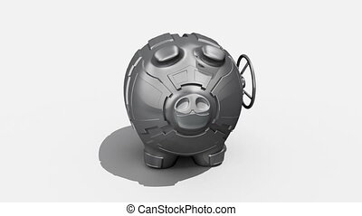 Rotating piggy bank - Steel piggy bank rotating on white...