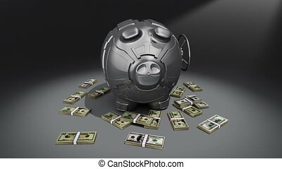 Steel piggy bank with money rotating on dark background. Conceptual 3D render.