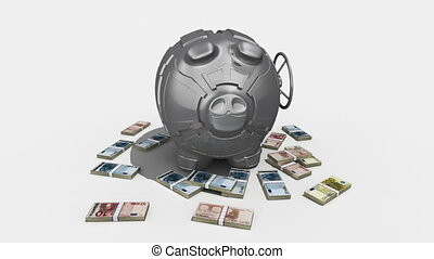 Steel piggy bank with money rotating on white background. Conceptual 3D render.