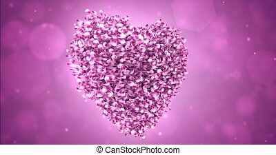 Rotating Pink Rose Sakura Flower Petals In Lovely Heart Shape Background Loop