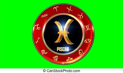 Rotating PISCES western Zodiac Symbol