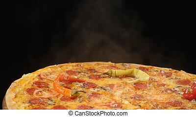 Rotating Pizza display on black backround