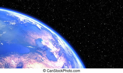 rotating planet earth in space closeup. seamless loop - 3D render