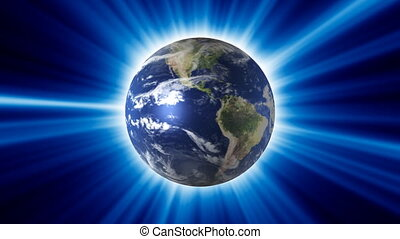 Rotating planet in blue shining ray