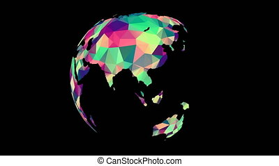 Rotating Polygonal Multicolored Globe. Seamless Looped...