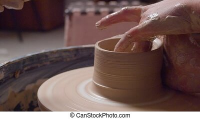 Rotating pottery wheel - Close up rotating pottery wheel....