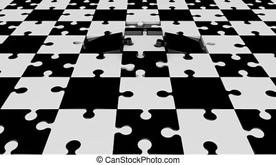 Rotating puzzle pieces in black and white