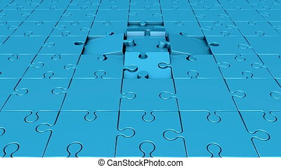 Rotating puzzle pieces in blue
