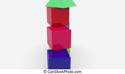 Rotating pyramid of toy cubes with roof on the top
