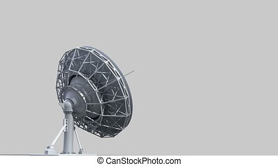 rotating radio telescope, 3d animation with alpha-matte